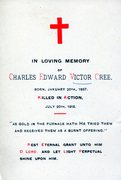 Charles Edward Victor Cree Death Card