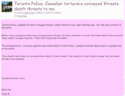 Threats from Toronto Police and Canadian torturers.
