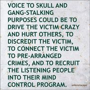 VOICE TO SKULL AND GANG-STALING PURPOSES COULD BE TO DRIVE