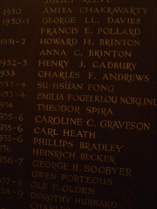 La Bibliothèque de woodbrooke memorial plaque : Emilia Fogelklou