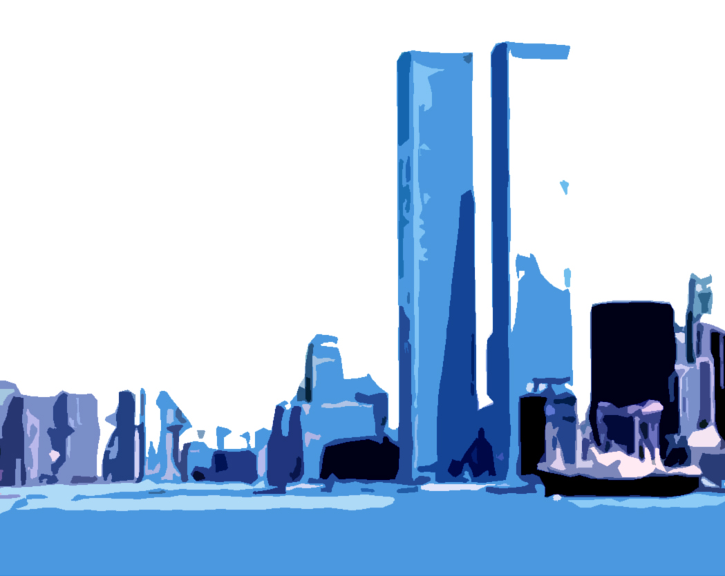 Twin Towers In Blue