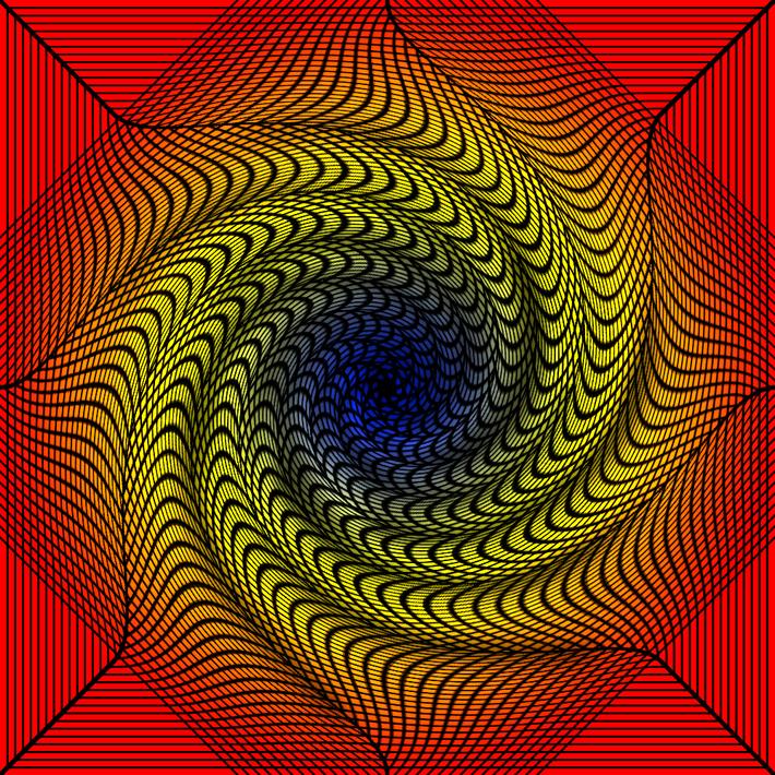Chromadepth 3d spiral grid tunnel