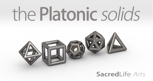 PLATONIC SOLIDS (full set)-Polished Nickel Steel