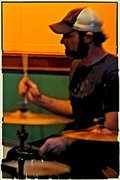 """Dave """"Gravy"""" Jackson of The Muckrakes on drums"""