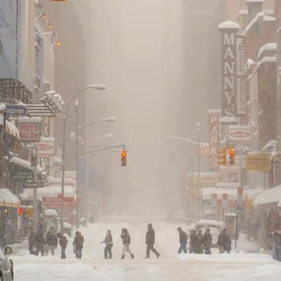 Manny's during a blizzard on 48th Street thanks to Elliott Randall