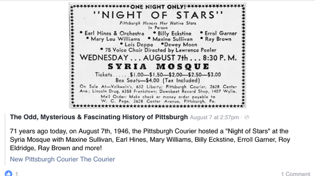 NIGHT OF STARS - 1946 (all native Pittsburghers)