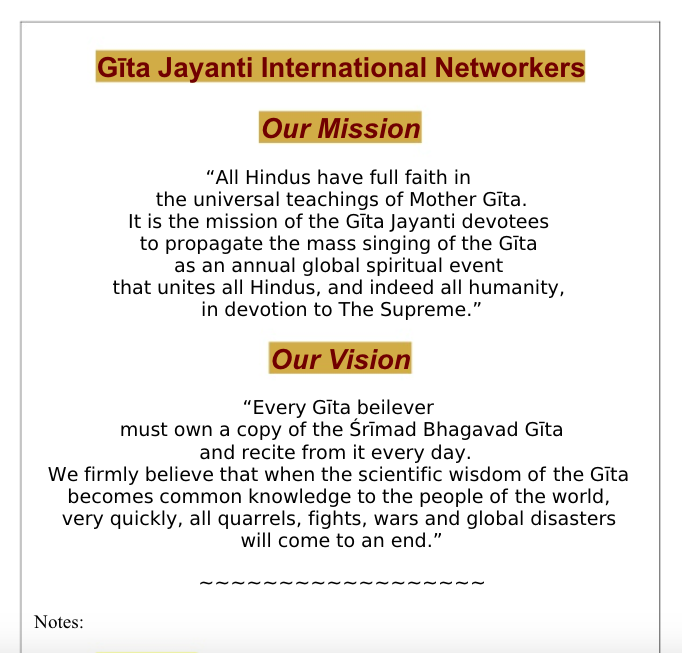 Gita Jayanti International Mission & Vision