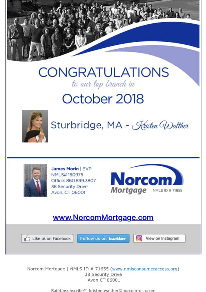 Norcom's Top Producing Branch Sturbridge, MA - October 2018