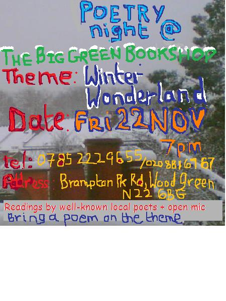 Poetry and musci at The Big Green Bookshop Fri eve