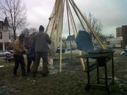 setting up the tipi