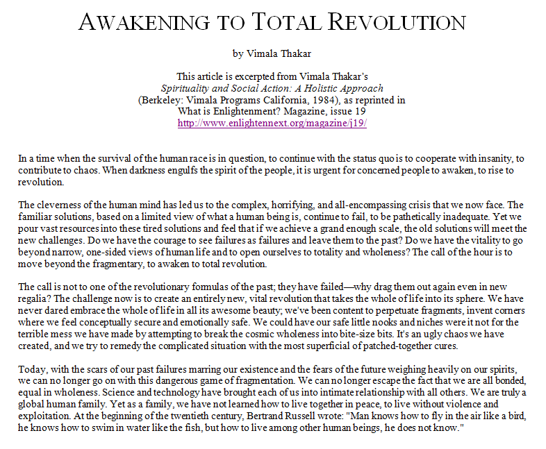 Vimala Thakar - Awakening to Total Revolution