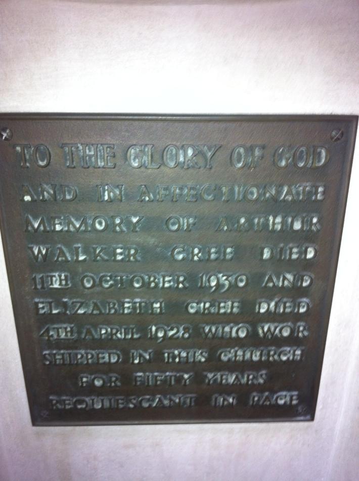 Dedication on the St Barnabas Church Font.