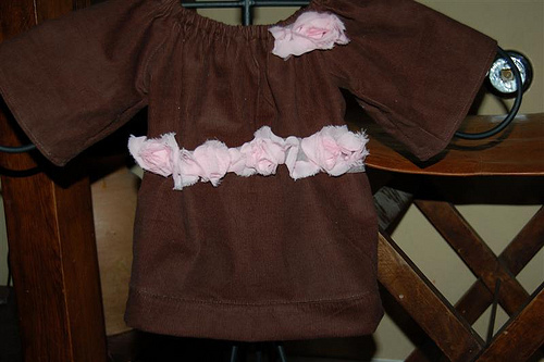 Corduroy Peasant Shirt with Rosettes
