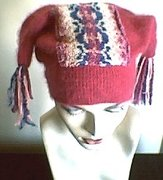 Upcycled Sweater - Angora Jester funky winter hat