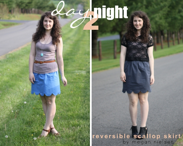Megan Nielsen's Day to Night Reversible Scalloped Skirt