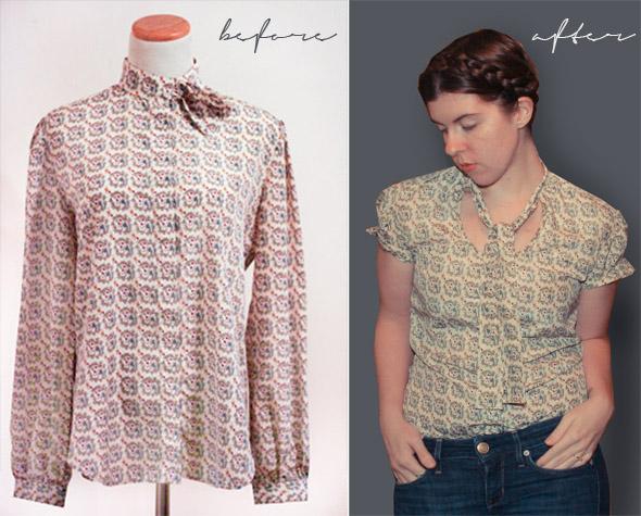 Silk Shirt Refashion with Tie Collar