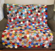 Recycled wool (sweaters) hexagon quilt