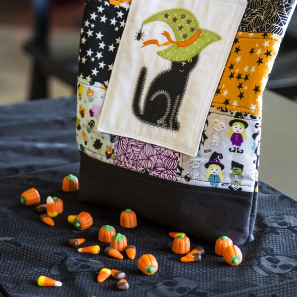 Halloween Witchy Cat Treat Patchwork Tote - Free PDF