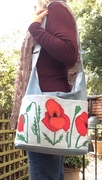 Snazzy Slouch + appliqué poppies
