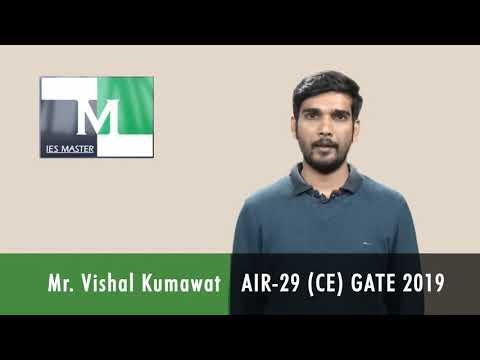 GATE 2019 Topper  Vishal Kumawat AIR 29 (CE)  IES Master Classroom Student