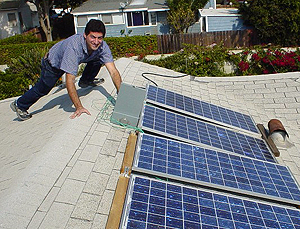 Culhane installas solar using 2x4's -- no need for expensive hardware!
