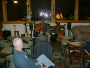 Steve checking the sound and getting ready for Stephen Bennett's House Concert