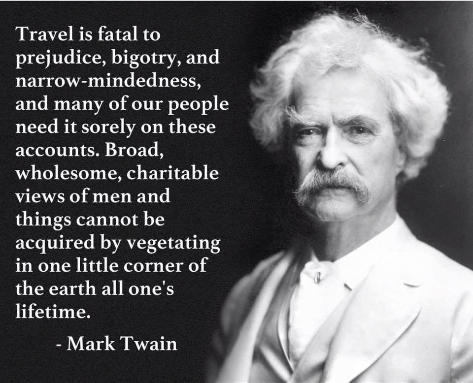 Mark Twain supports the traveling lifestyle