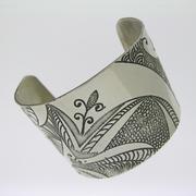 Etched Silver Cuff Bracelet