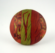 Polymer Clay Bead - rust, green