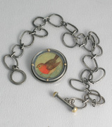 Apricot Breasted Bird Pin - Pendant -  unhooked - 2008