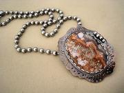 Lace Agate Pendant copper Silver