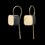 gigi mariani - earrings - silver,18kt yellow gold,niello, patina
