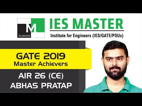 GATE 2019 Topper   Abhash Pratap Singh AIR 26 (CE)   IES Master Classroom Student