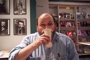 Chugging coffee in Iowa