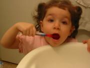 VRD brushing her teeth