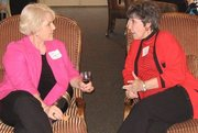 Sylvia and author friend, Joan Upton Hall chat