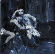 2007, lets dance, 18x18cm oil on canvas