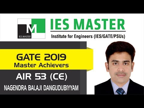 GATE 2019 Topper | D Nagendra Balaji AIR 53 (CE) | IES Master Classroom Student