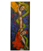 Acrobats, Oil, 20x60
