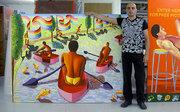 the lake queer art paintings  gay artworks by raphael perez homosexual lgbt artist painter