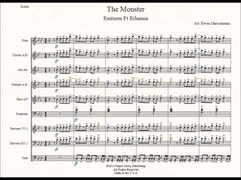 """The Monster"" Eminem Ft. Rihanna Marching Band Sheet Music Arrangement"