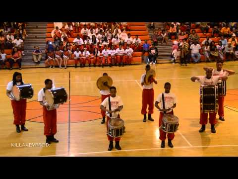 American Way Middle School Marching Band - Percussion Feature - 2015