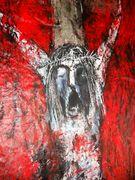 Detäil Akt Kreuzigung Acryl auf Tuch 210 x 145 cm