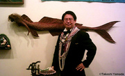 Dr. Takeshi Yamada in front of his 6-foot mummified mermaid at the annual Mermaid fine art exhibition at Coney Island Museum  (20060722)