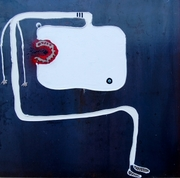white contortionist mixed media on iron steel  cm 50 x 50 2012 piccolo
