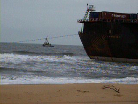 700FT BARGE STUCK ON SHORE FROM NOREASTER IN VA