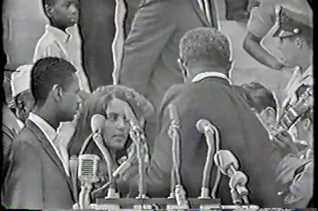 "On the left on guitar, my old friend Stuart Scharf on guitar in RARE footage from 1963 Civil Rights March on Washington ""HOLD ON"" Bob Dylan, Joan Baez, Len Chandler"