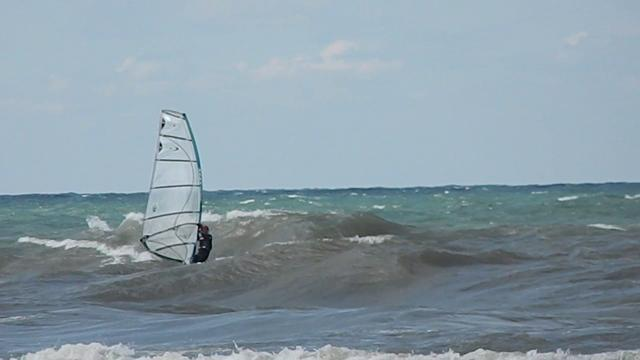 Windsurfing Lake Michigan: light wind and waves near Saugatuck