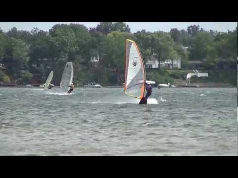 Windsurfing, Cass Lake, MI, June 2, 2012, Wipeouts, Jumps, Fun, Crew