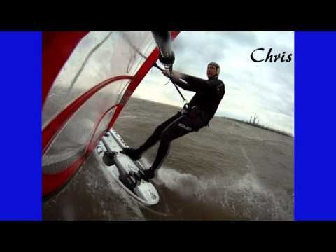 Windsurfing, Jumps, Wipe Outs, Sterling State Park, Michigan, Lake Erie, November 13, 2011